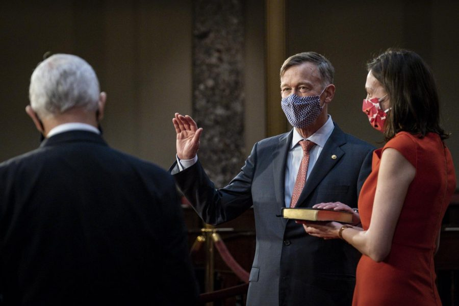 Senator+John+Hickenlooper+%28D-CO%29+is+sworn+in+for+his+first+Senate+term+by+Vice+President+Mike+Pence.+He+joins+the+117th+congress%2C+and+beat+incumbent+Senator+Cory+Gardner+%28R-CO%29.