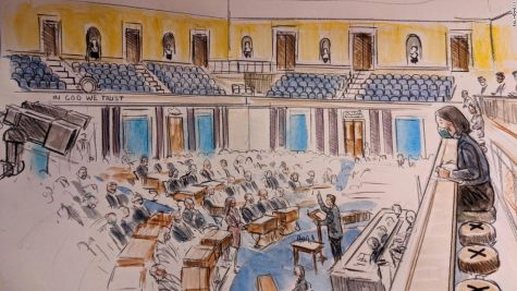 A courtroom sketch of the Senate Chambers during the Trial.