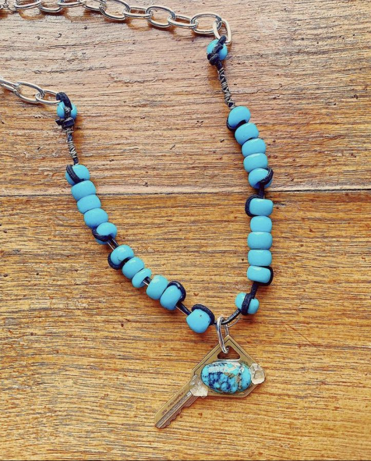Pictured above is a necklace made by junior Sydney Berggren created with recycled materials.