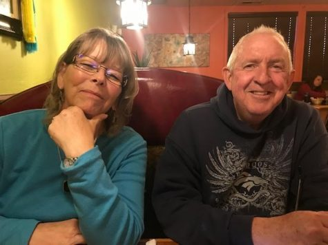 Terry Clark, right, smiles next to his wife, left. Clark was the Nutrition Service Manager at SHS, and he is retiring at the end of the year.