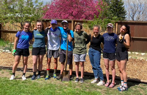 SHS National Honor Society members, from left to right, are junior Gwen Ramsey, senior Cassidy Gillis, juniors Elijah Wilcox, Kuper Banghart and Kate Adams, sophomore Amy Adams, senior Lily Lengerich and junior Macy Mazzeo. They stand together after completing yard work for a Poncha Springs resident.